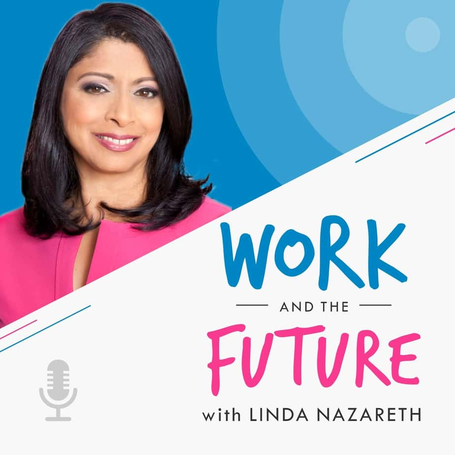 Graphic for the Work and the future podcast with Linda Nazareth, episode featuring Corey Kossack CEO of Aspireship, a company specializing in SaaS sales training and job placement.