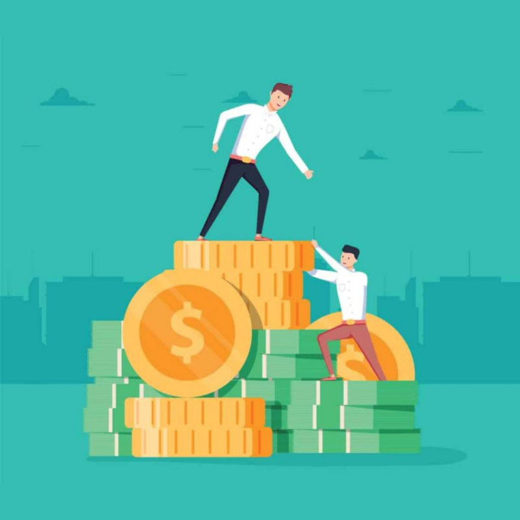 Illustration of two sales professionals and gold coins for the Aspireship blog on SaaS Sales careers and compensation.