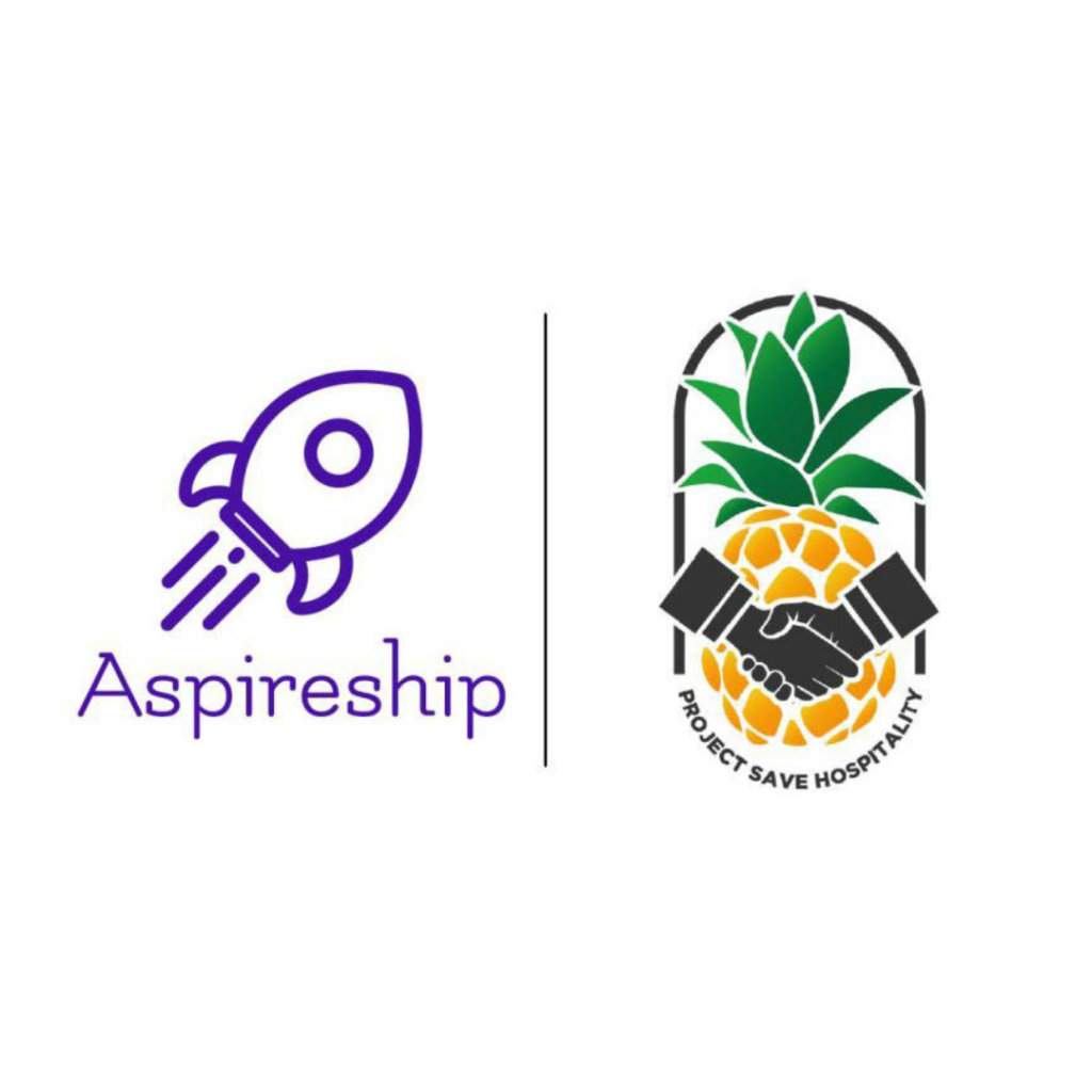 Graphic featuring the Project Save Hospitality logo and the Aspireship logo.