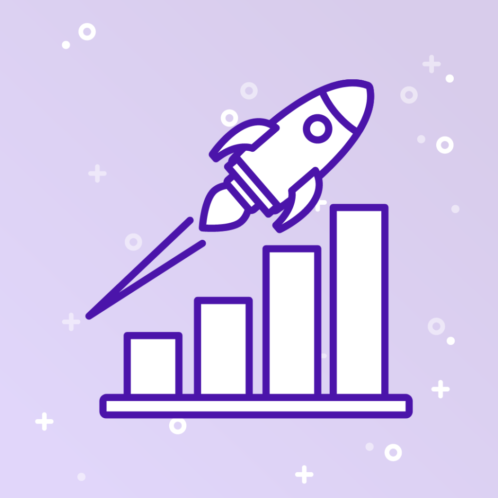 Graphic of a rocket and bar graph for the Aspireship blog post on how Aspireship is different from sales bootcamps and other SaaS sales trainings