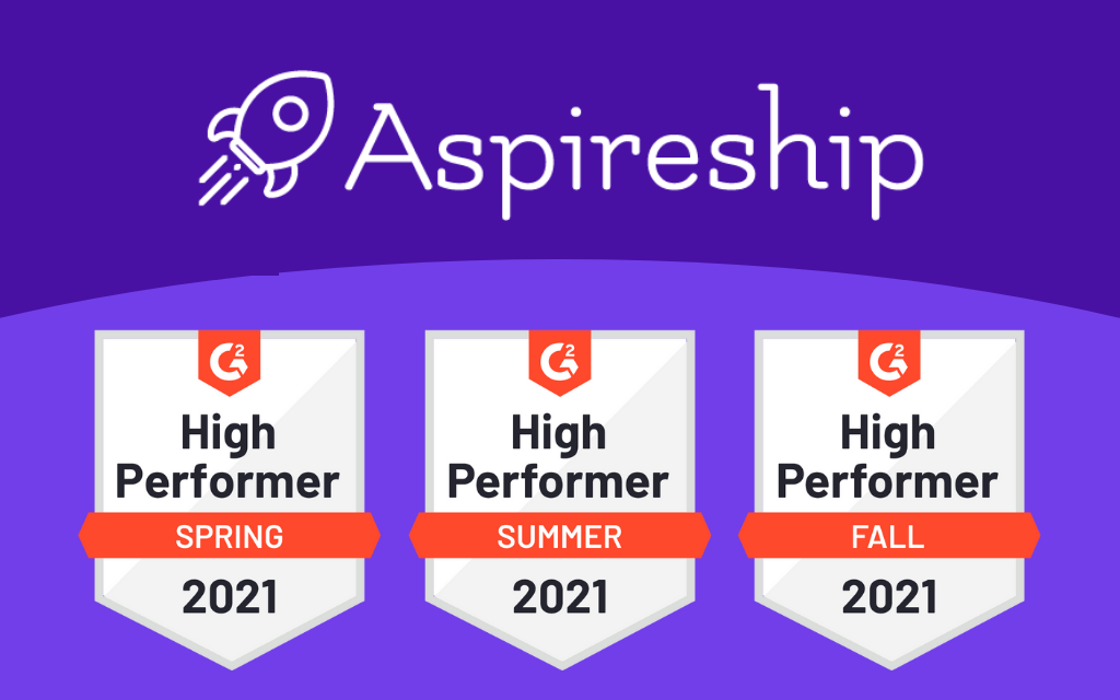 Aspireship for Teams graphic that features G2 High Performer badges for Spring, Summer and Fall 2021.