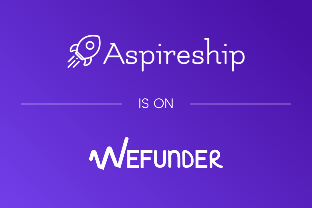 """Graphic that reads """"Aspireship is on WeFunder,"""" a fundraising platform; Aspireship is an online SaaS sales training and job placement startup in Phoenix, Arizona."""